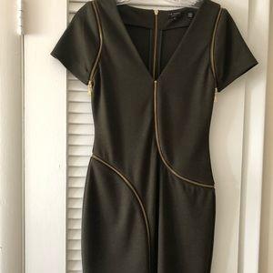 Ted Baker London Dresses - Ted Baker olive green 4 gold zipper detail dress.
